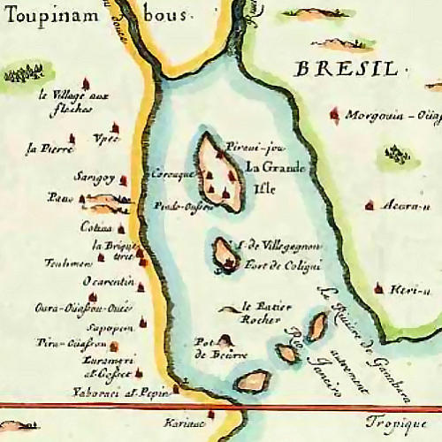 French map of Guanabara Bay in 1555, by Duval