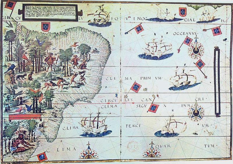 Map of Brazil in the Miller Atlas of 1519.
